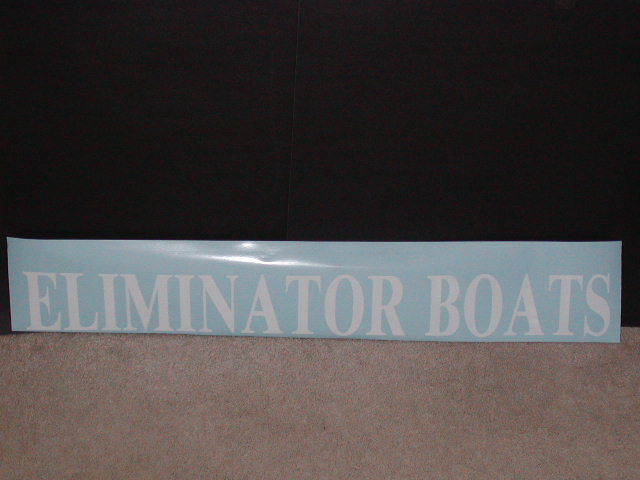 "�Eliminator Boats Decal 4"" Tall X 36"" long"