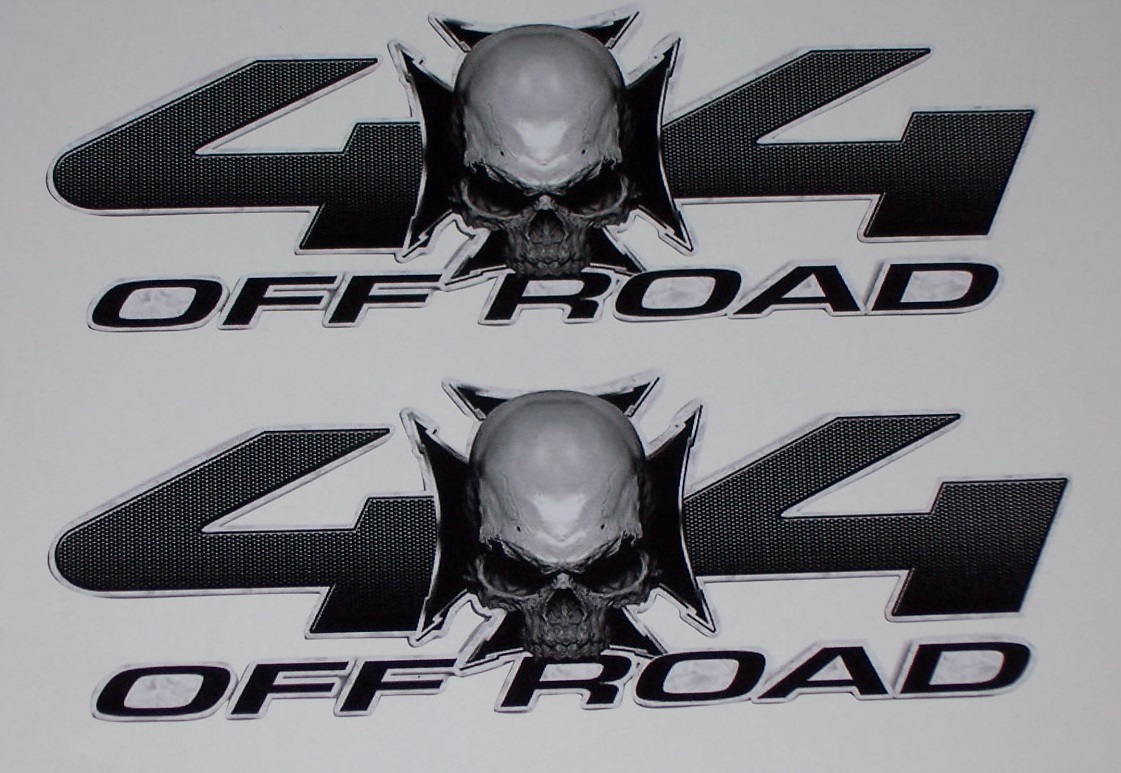Skull Iron Cross 4x4 Off Road Bed Side Decals Pair