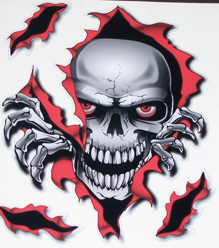 Rip Threw Skull Red Black 8 Quot X 9 Quot Full Color Hood Tailgate