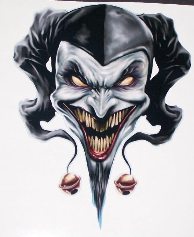 """Evil Clown / Jester Skull 6"""" X 8.5"""" Full Color Tailgate"""
