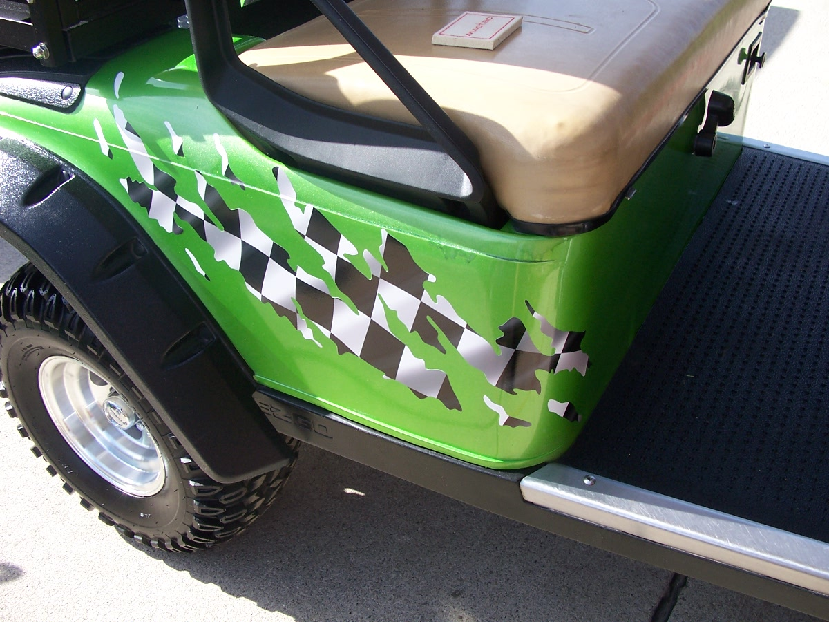 Golf Cart Full Color Ripped Splash Racing Checkered Flag