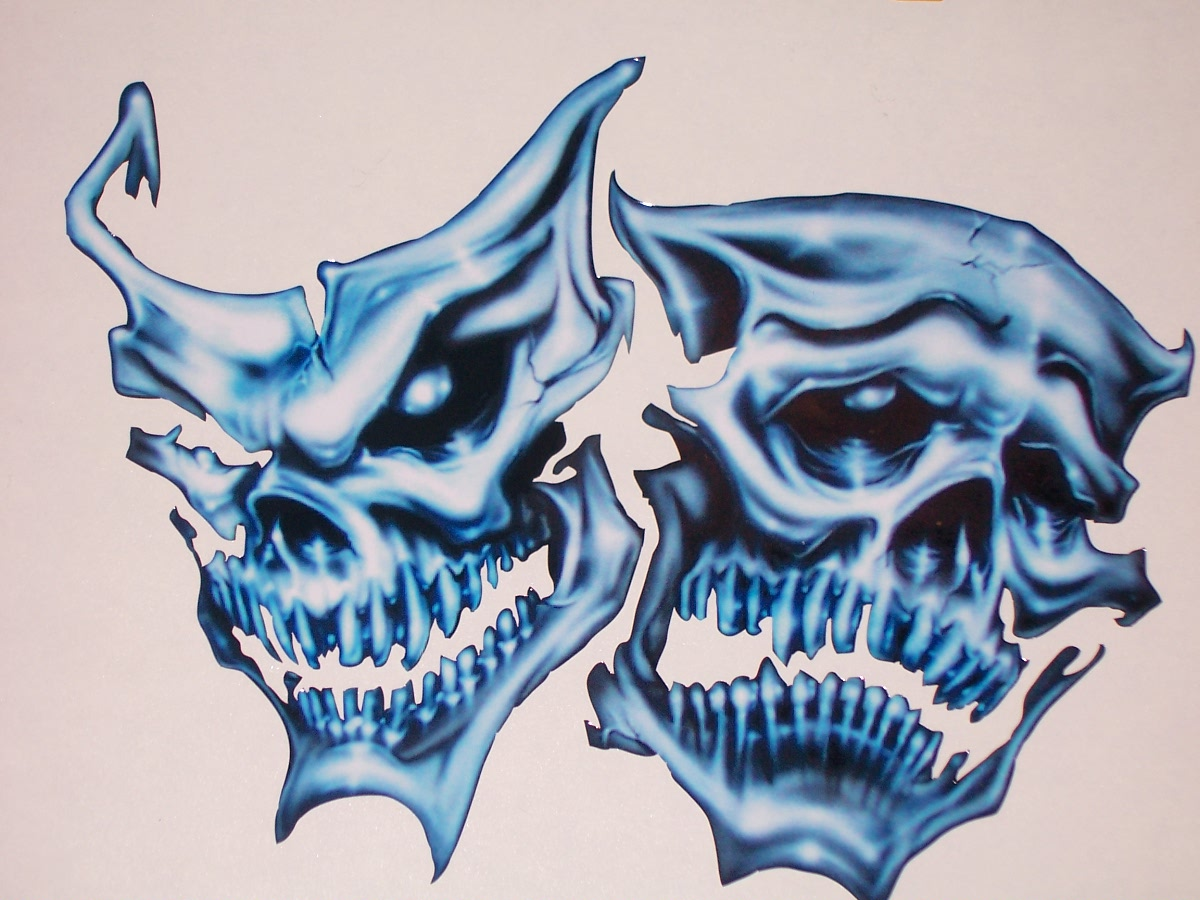Car custom decals and graphics - Blue Skull Mask Full Color Tailgate Graphic Window Decal