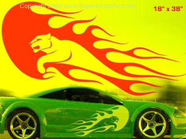 Cougar Flames Side Graphics set FIT ALL CARS & TRUCKS