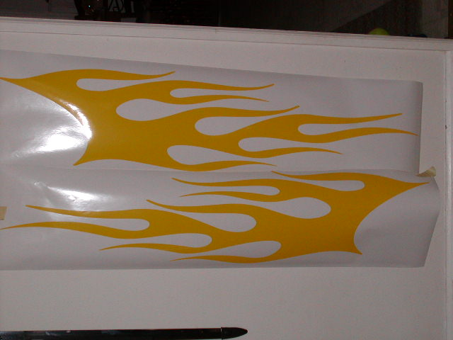 """Flame side #5 graphics 12"""" wide X 64"""" long"""