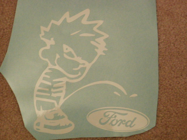 CALVIN PEEING ON Ford DECAL!