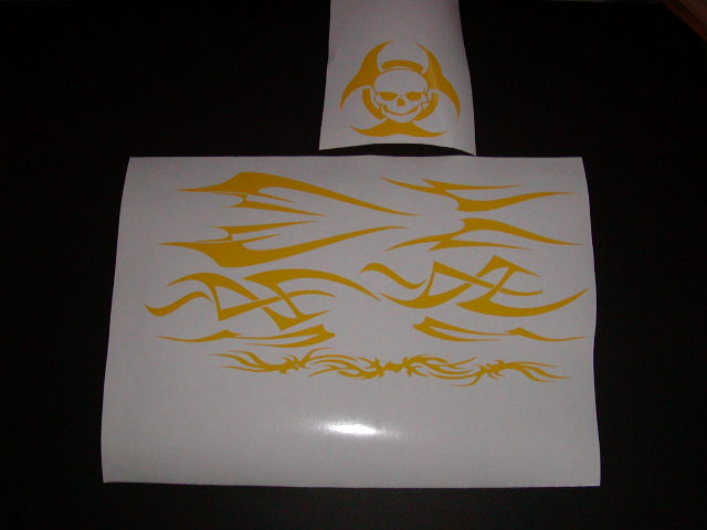 �TRIBAL Helmet Graphic decals W/ Skull Biohazard