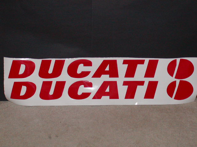 "Ducati Windshield or trailer decal 4"" tall X 36"" long"