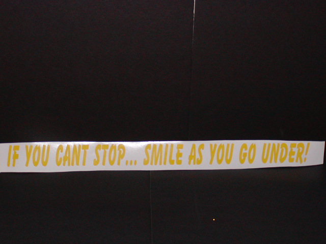 �If you cant stop... Smile as you go under!!