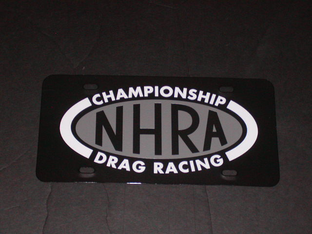 NHRA Drag Racing Vanity Plate Black Plate Silver white logo