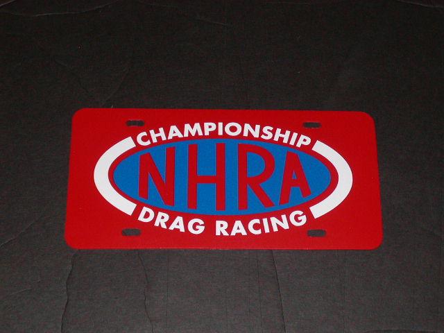 NHRA Drag Racing Vanity Plate Red plate Blue white logo