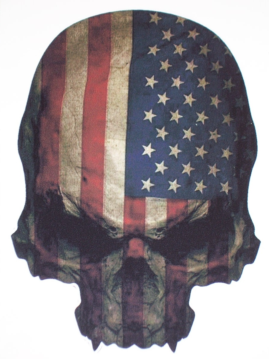 American Flag Skull 6 Quot X 8 Quot Full Color Tailgate Graphic