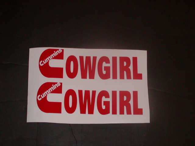 Cummins Cowgirl Small Decals sold as a pair