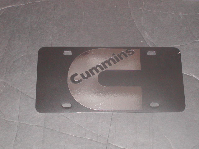 �Cummins C Logo Vanity License Plate Black plate