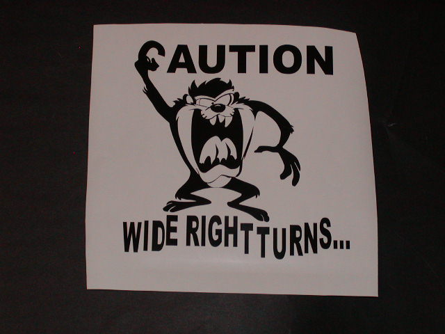 �CAUTION WIDE RIGHT TURNS Trailer Decal Decals