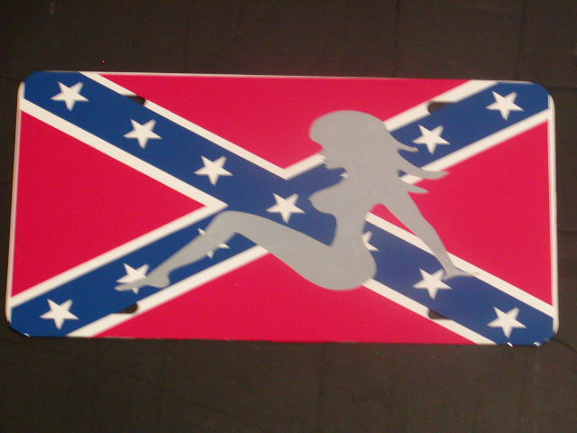 Trucker Girl Confederate Rebal Flag License Vanity Plate