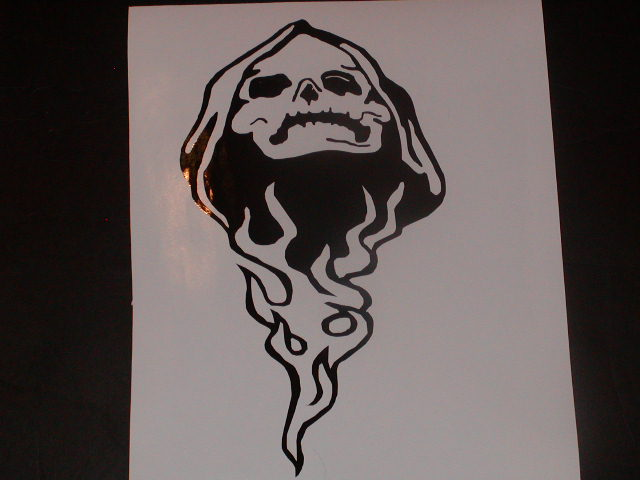 �Skull Flames #2 Hood window or tailgate Graphic Decal