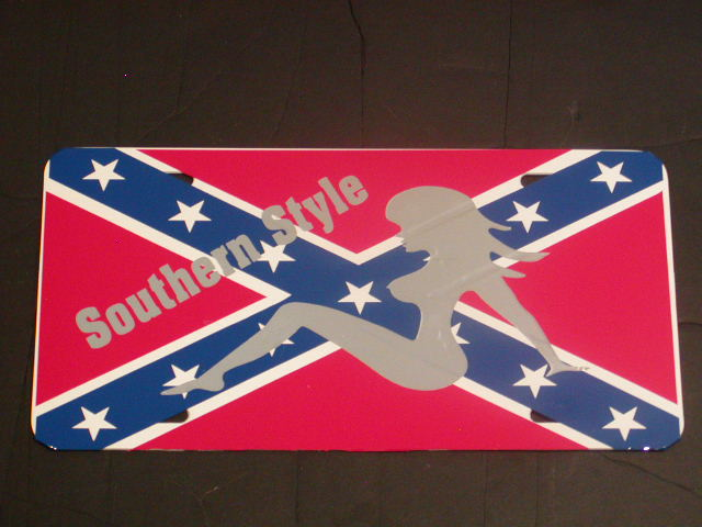 �Southeren Style Confederate Rebal Flag License Vanity Plate #1