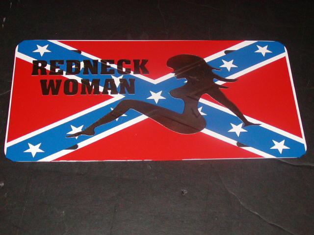�Readneck Woman Confederate Rebal Flag License Vanity Plate