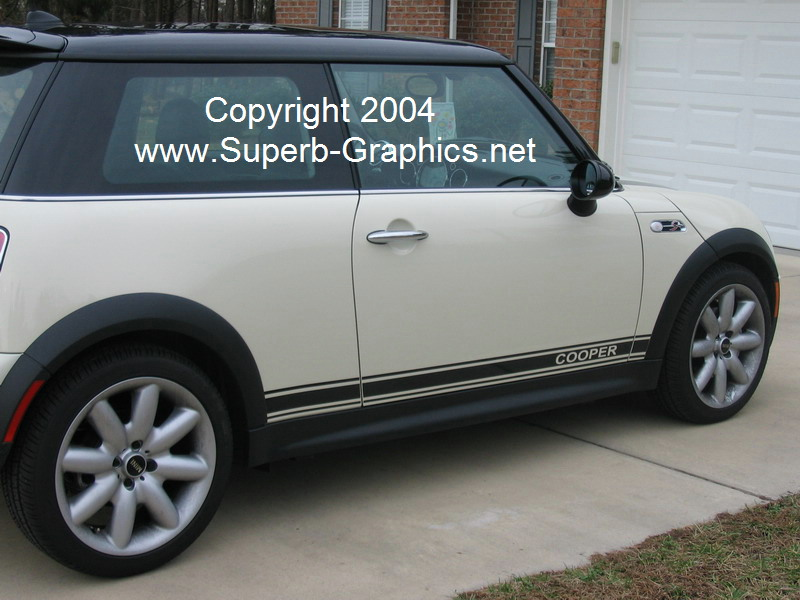 "�MINI ""Cooper"" side stripes Say ""COOPER"" Only"