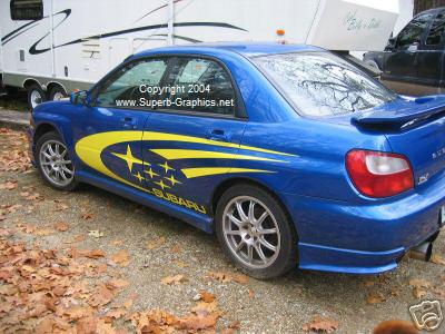 """Subaru Rally side graphics 21""""X 100"""